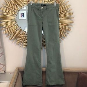 3X1 Green High Waisted Flare Jeans